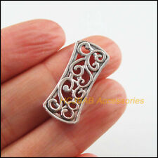 10 New Flower Charms Tibetan Silver Tone Rectangle 3-Holes Spacer Beads 11x26mm