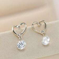 Crystal Heart Women Love Earrings Silver Plated Ear Stud