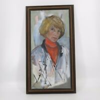 Vtg Mid Century Abstract Female Woman Portrait Oil Painting Sue Lewis 33x18