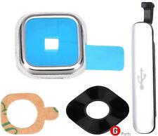 Prem.✅ Kamera Linse Objektiv Glas Abdeckung Rahmen f. Samsung Galaxy S5 SILBER ▀