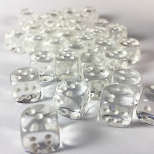 Chessex Dice Block d6 36 pcs 12mm - Translucent Clear w/ White - 23801 FREE BAG