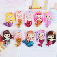 Random 20-Pack Glitter Resin Flatback Mermaid Craft Phone Case Decor DIY Jewelry