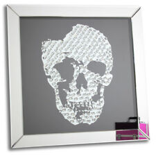 Large Mirrored Glass Floating Skull Crystal Jewel Gem Table/Wall Mirror Picture