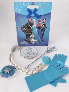 Girl Kids Children Frozen Elsa Tiara Crown Wand Gloves Christmas Gift Set in Bag