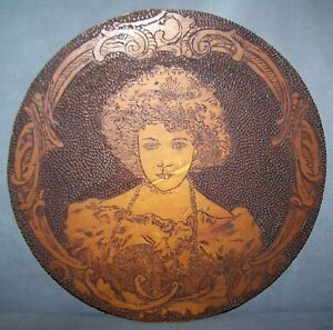Antique Flemish Pyrography WOOD ART by Edna Lampman March 1, 1910 15 x 15 NICE!