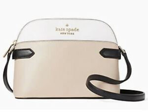 New Kate Spade Staci colorblock dome crossbody Warm Beige multi