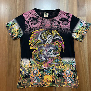ED HARDY Men's Size Small Rhinestone Colourful Bright Arty Vintage Design