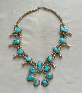 Sterling Silver & Turquoise Squash Blossom Necklace;N435