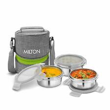 Milton Chic Stainless Steel Meal Lunch Box Pack 3 Tier Gray Leak Proof Lids