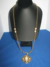 1928 Long Gold Faux Pearl Cabochon Beads Textured Geometric Pendant  Necklace