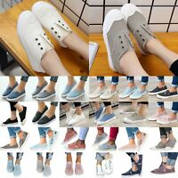 Women Canvas Slip On Comfy Shoes Flat Running Sneakers Trainers Casual Plimsolls