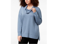 NWT Ideology Plus Size Cowl-Neck Top Serene Blue Heather 2X 726895145922