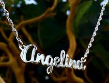 CUSTOM ANY Name Necklace in pure Sterling Silver M-G Script Style Name Necklaces
