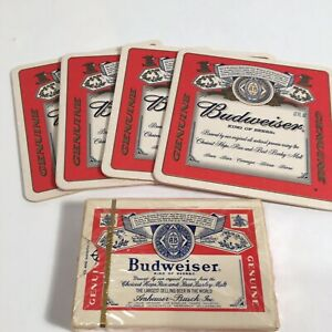 Vintage sealed Budweiser Playing Cards & 4 Coasters