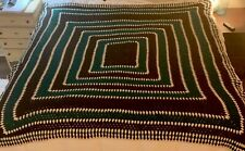 "Vintage Large Queen Crochet Chunky Afghan Green Brown Blanket Handmade 84"" x 84"""