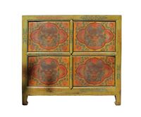Chinese Tibetan Dragon Graphic Credenza Storage Cabinet cs3940