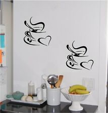 (2) Coffee Cup & Heart Wall Sticker Wall Art Decor Vinyl Decal Lettering 8 in