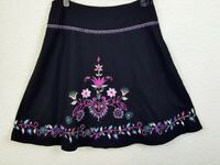 Womans Embroidered A-Line Wool Blend Skirt UK14 Boho Black & Colourful Folk Art