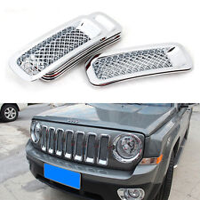 Chrome Front Mesh Grille Grill Mesh Grill Insert Kit for Jeep Patriot 2011-2017