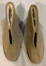 The Vermont Country Store Beige Suede Sheepskin Shearling Slipper Boots  Sz 13M