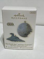 Hallmark Keepsake Star Wars The Death Star And Star Destroyer Mini Ornaments NOB