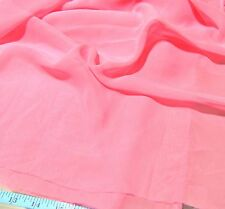 "2 YARDS CORAL PINK SYNTHETIC CHIFFON FASHION, BRIDAL FABRIC 63"" WIDE"