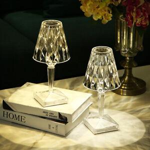 Crystal Table Lamp USB Charging LED Lights Nightstand Bedside Night Light