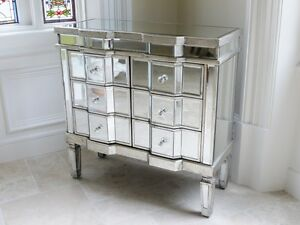 Stunning Bow Front 6 Draw Venetian Glass Mirrored Bedroom Chest of Drawers 3695