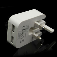 Mains Foldable Double USB Plug Phone Charger for Samsung S7/S8 iPhone 6 White UK