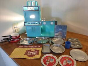 Vintage 1964? Easy Bake Oven Turquoise w Extras Muffin Cookie Sheet Pans No Box