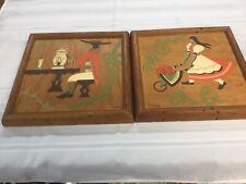 2 Mid-Century Ran Su Paintings Tavern Scene Maiden With Apple Cart 13.5 Inch