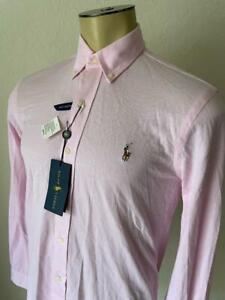 RALPH LAUREN Men's Pink Knit Oxford Long Sleeve White Dress Shirt NWT Small $99