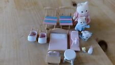slyvanian set - mother, two babies, bed, prams, rocking horse, chairs, stool