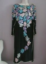 Vintage Art Deco Sequin Beaded 100% Silk  India Flapper, Gatsby, Dress Med