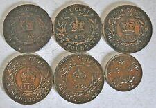 6 CANADA COINS, NEWFOUNDLAND CENTS, 1865,1872,1880,1913,1936 & 1941 F-AU