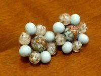 Vintage Italian Art Glass Bead Clip On Earrings Baby Blue Gold flake