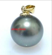 AAA 9-10mm natural south sea Black Gray bread pearl stud earrings 18K Gold