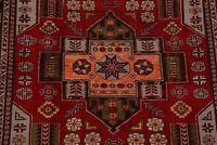 RED Geometric Tribal Kazak Caucasian Oriental Area Rug Vegetable Dye Wool 5'x7'