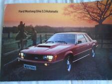 FORD Mustang Ghia 3.3 automatique brochure c1980's marché du Royaume-Uni