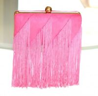 BOLSO CLUTCH bag mujer rosa fucsia oro tela elegante matrimonio ceremonia E65