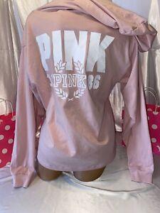 Victorias Secret Pink Hoodie/ Shirt Light Pink & White Large