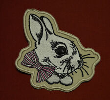 patch lapin beige , broder et thermocollant ,10/7cm
