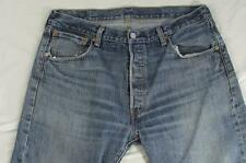 Levi 501 Button Fly Straight Leg Hige Faded Denim Jeans Tag 36x32 Measure 36x32