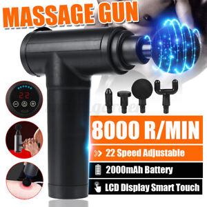 8000r/min LCD Massage Gun Massagepistole Muskel Massager Massagegerät w/ 4 Köpfe