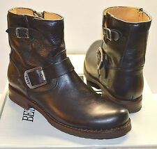 """New $298 Frye Veronica 6"""" Shortie Black Leather Moto Short/Ankle Buckle Boot 7"""