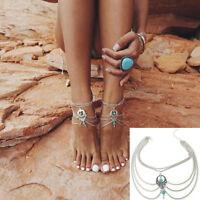 Damen Boho Türkis Ketten Fußkette Knöchel Armband Barfuß Sandale Strand Schmuck