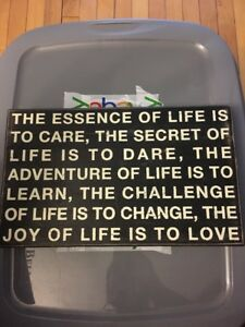 The Essence Of Life Is To Care, The Secret Of Life Black And White Sign
