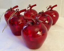Lot Of 6 Vintage Red Glass Apple Christmas ornaments with Gold Hanger