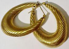 boucles d'oreilles percées bijou vintage couleur or anneaux vintage striés 474