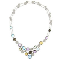 14K White Gold 38.35 CT Multi Mix Color Gemstone & Diamond Statement Necklace